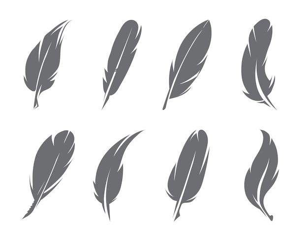 Illustraties van veren. pen van vogel om te schrijven, donzige ganzenveer