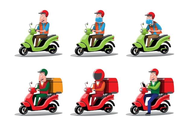 Illustraties van verschillende kleurrijke motorfietsen bezorgfiets pizza en eten bezorgen