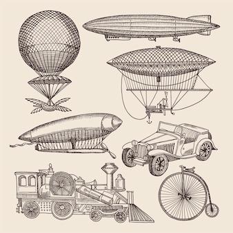 Illustraties van verschillende retro-transporten.