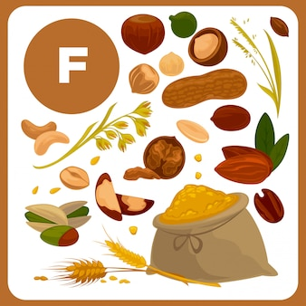 Illustraties van voedsel met vitamine f.
