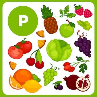 Illustraties van voedsel met vitamine p.