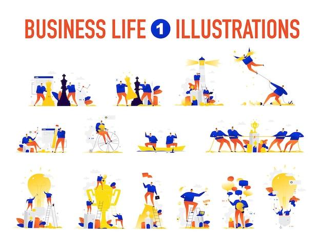 Illustraties van zakelijke situaties het team lost problemen op creatief brainstormen