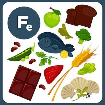 Illustraties voedsel met minerale fe.