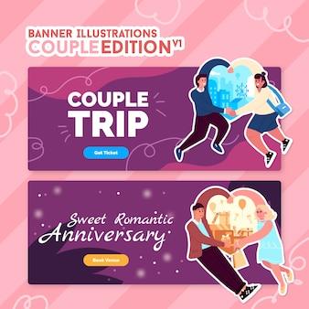 Illustraties voor banner - couple edition