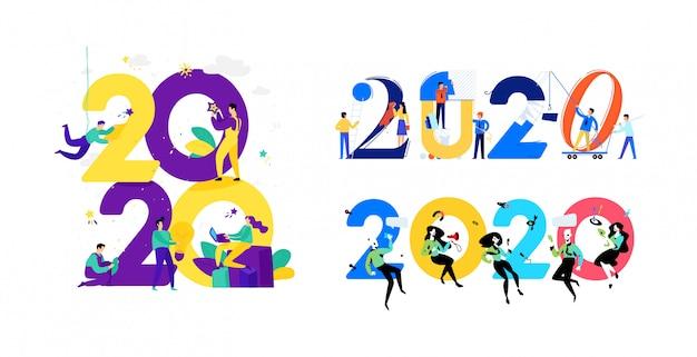 Illustraties voor het nieuwe jaar 2020. vector.