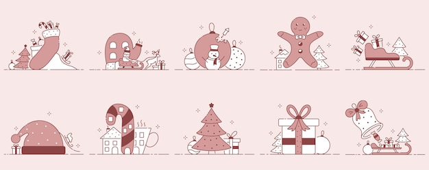 Illustraties voor kerstmis of nieuwjaar.