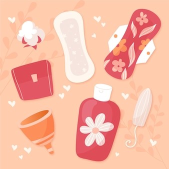 Illustraties voor vrouwelijke hygiëneproducten