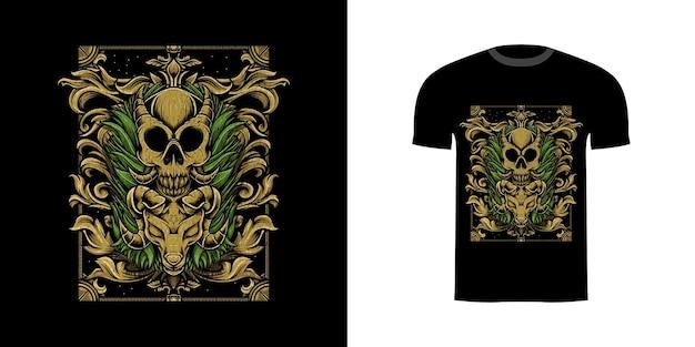 Illustratieschedel met gravureornaent voor t-shirtontwerp