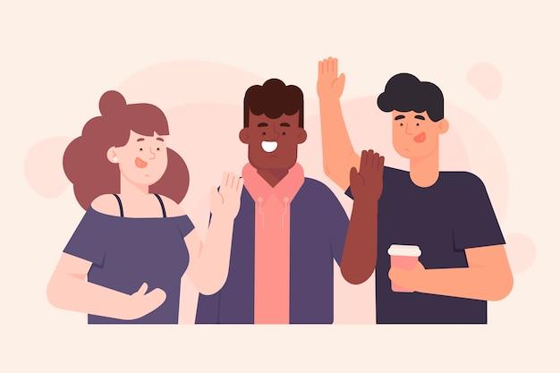 Illustratiestijl met mensen die hand zwaaien