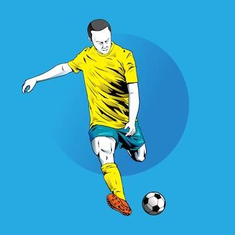 Illustratiestijl van beweging in voetbal