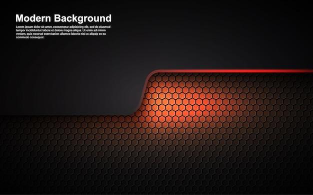 Illustratievector grafisch van abstracte oranje afmeting als achtergrond op moderne zwart