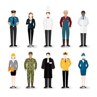 Illustratievector van diverse carrières en beroepen