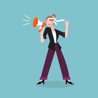 Illustratievrouw die met een megafoonthema gillen