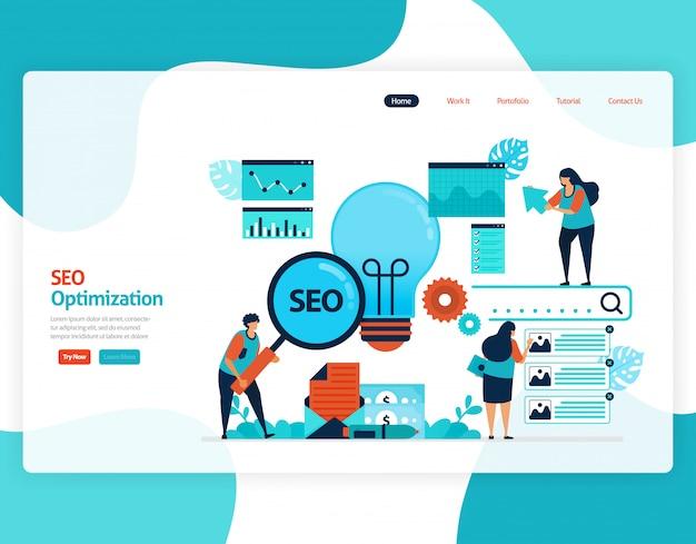 Illustratiewebsite voor marketingoptimalisatie met seo. online adverteren met trefwoorden in zoekmachines voor doelmarkt, advertentieservices, sociale media.