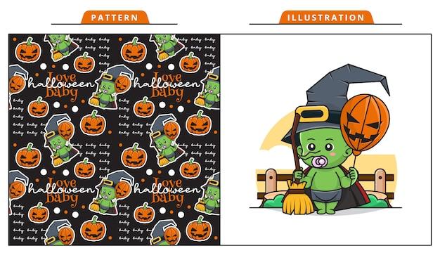 Illustratio van schattige baby die een boze heks kostuum draagt in de halloween-dag met decoratief naadloos patroon