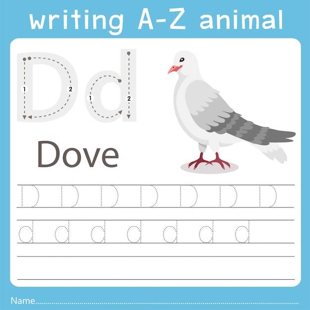 Illustrator die az-dier van duif schrijft