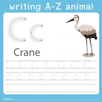 Illustrator die az-dier van kraan schrijft