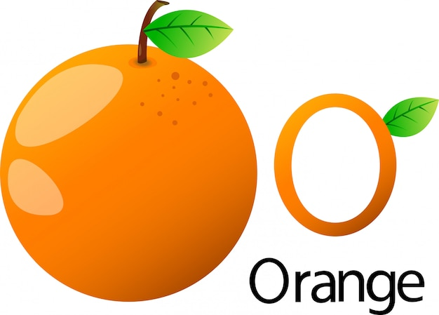 Illustrator o lettertype met sinaasappel
