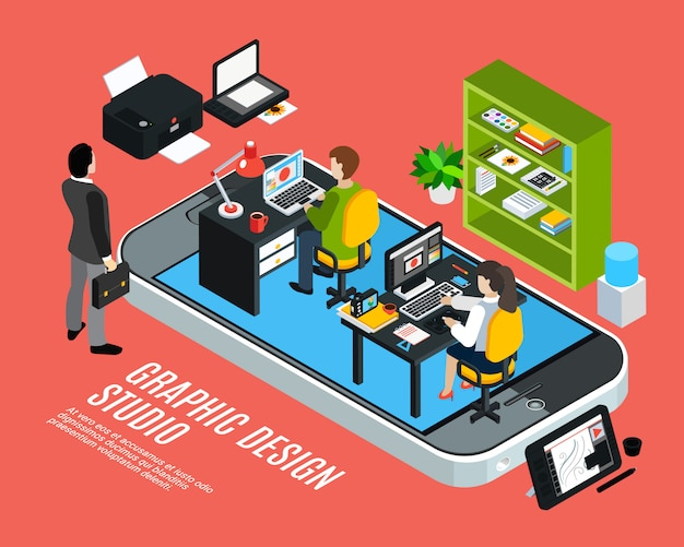 Illustrator of ontwerper werken bij grafisch ontwerp studio isometrische kleurrijke concept 3d vector illustratie
