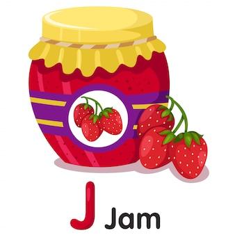 Illustrator van aardbeienjam
