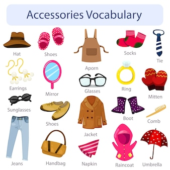 Illustrator van accessoires vocabulaire