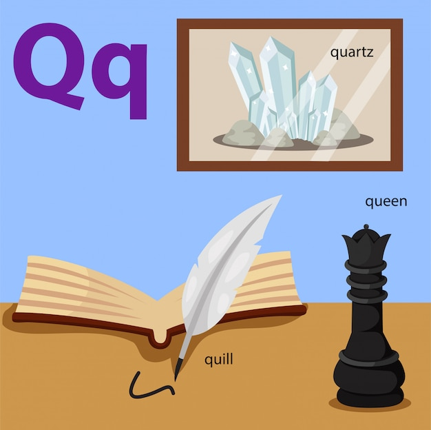 Illustrator van az die voor geïsoleerde q wordt geplaatst
