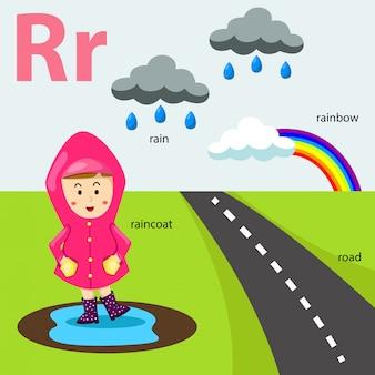 Illustrator van az-reeks voor geïsoleerd r