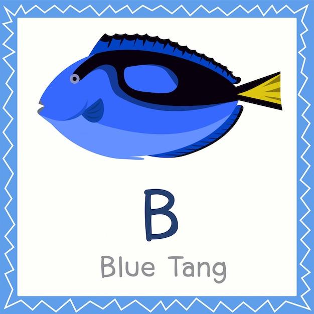 Illustrator van b voor blue tang-dier