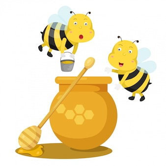 Illustrator van bijen en honing