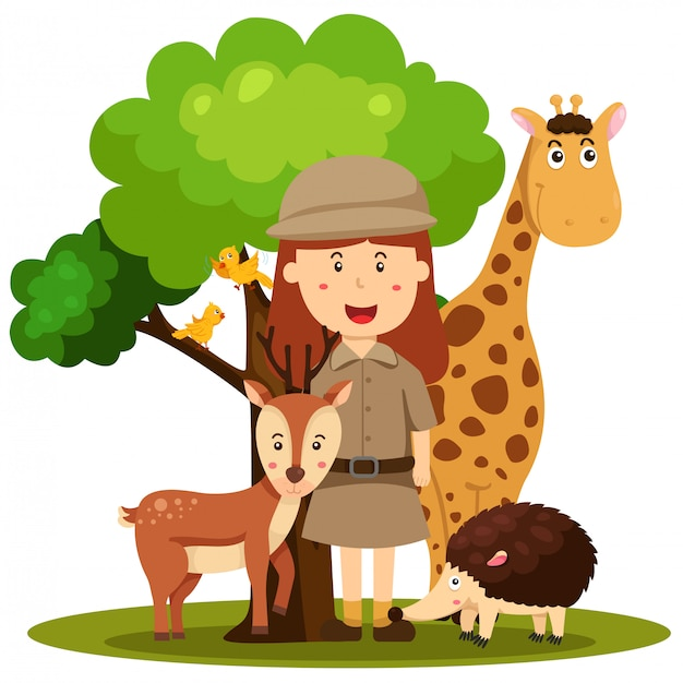 Illustrator van de vrouwen van de dierentuinbewaarder