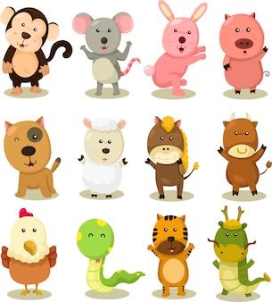Illustrator van dierenriem dieren set