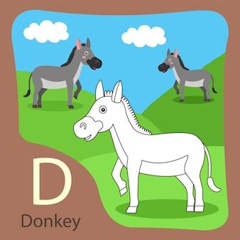 Illustrator van donkey geïsoleerd en kleuren