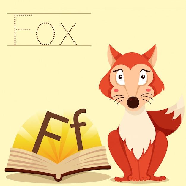 Illustrator van f voor vossenvocabulaire