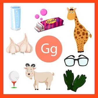 Illustrator van g-alfabet voor kinderen