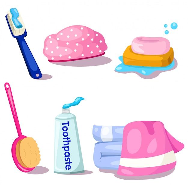 Illustrator van handdoek en badkamer set