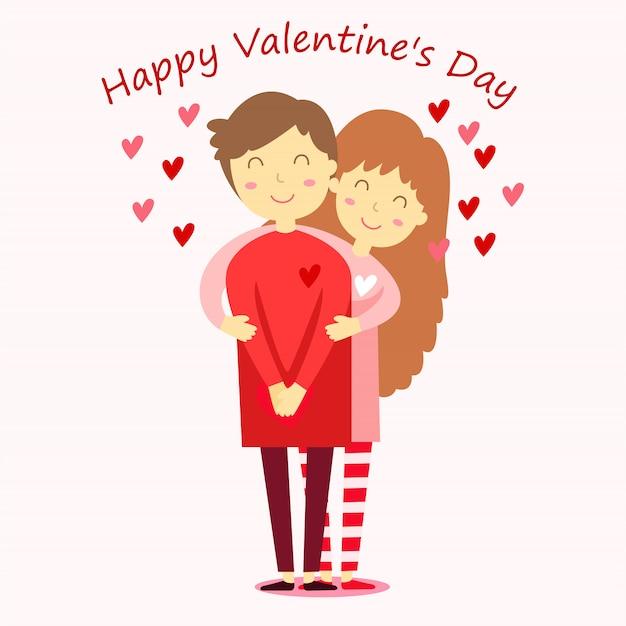 Illustrator van happy valentine day jongen en meisje twee
