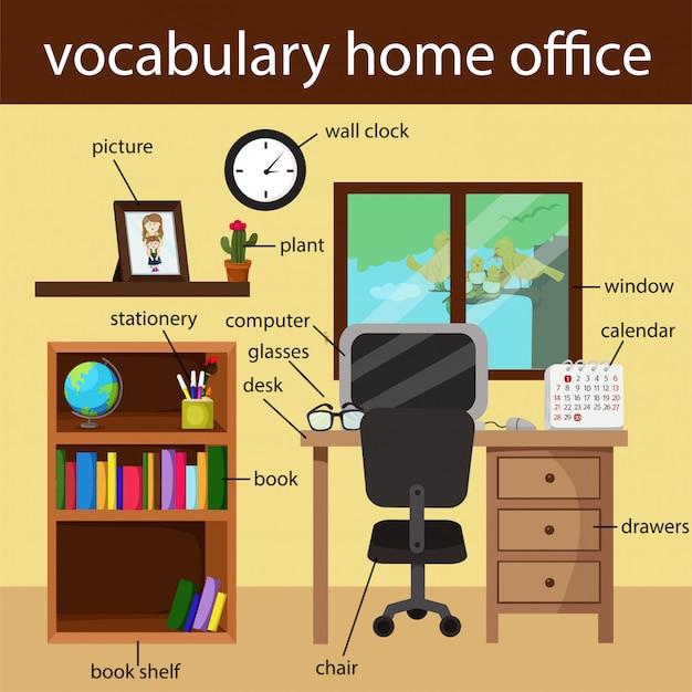 Illustrator van het kantoor van de woordenschat