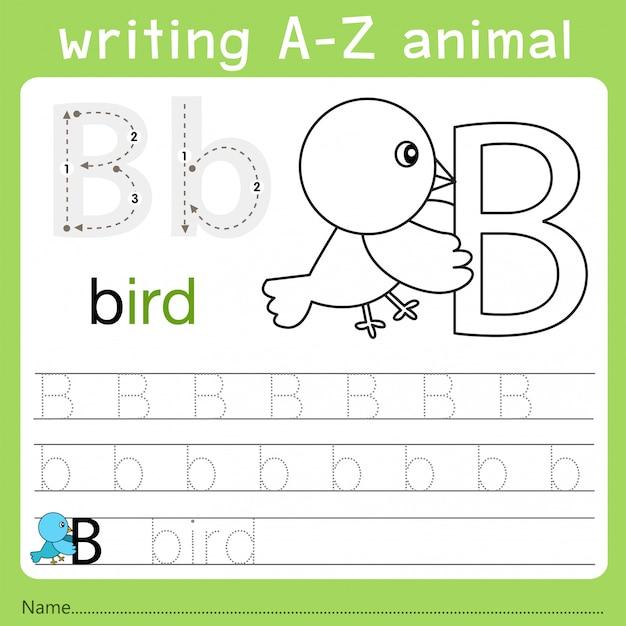 Illustrator van het schrijven van az animal b