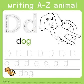 Illustrator van het schrijven van az animal d