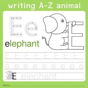 Illustrator van het schrijven van az animal e