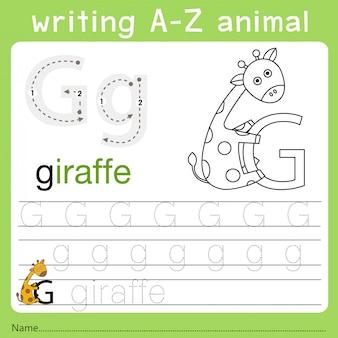 Illustrator van het schrijven van az animal g