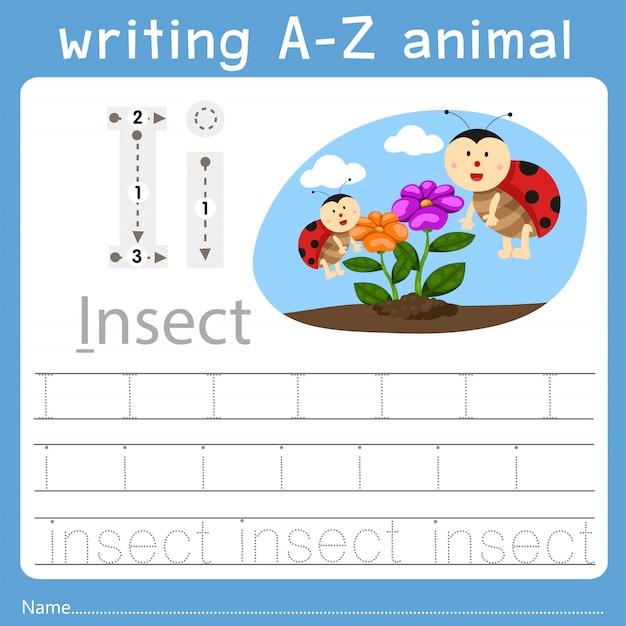 Illustrator van het schrijven van az animal i
