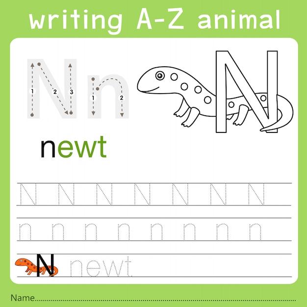 Illustrator van het schrijven van az animal n