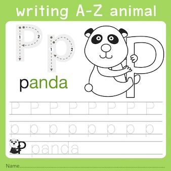 Illustrator van het schrijven van az animal p