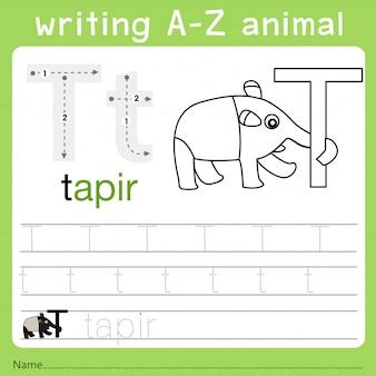 Illustrator van het schrijven van az animal t