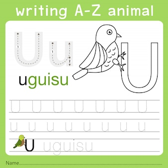 Illustrator van het schrijven van az animal u