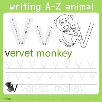 Illustrator van het schrijven van az animal v