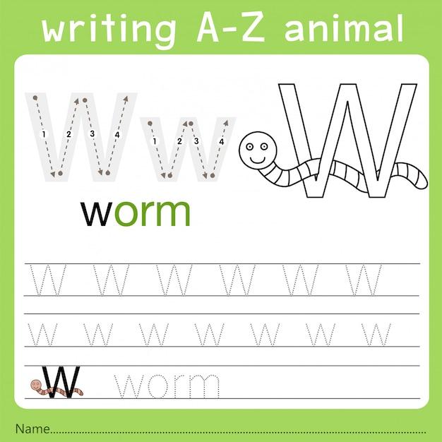 Illustrator van het schrijven van az animal w