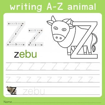 Illustrator van het schrijven van az animal z