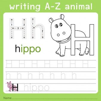 Illustrator van het schrijven van az dier h